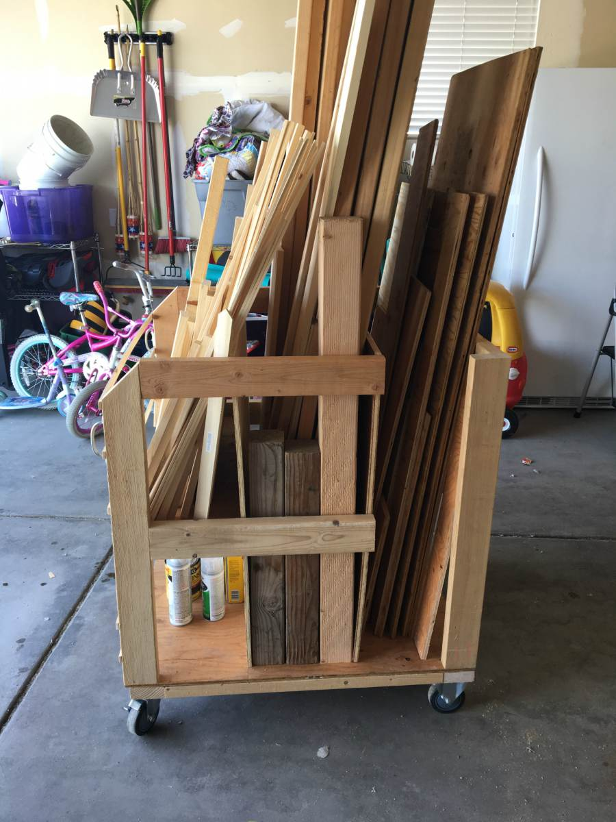 Diy lumber storage cart overalls power saws builds for Rolling lumber cart plans